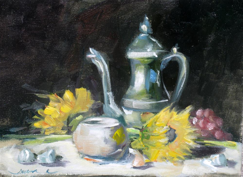 """Teapot and sunflowers"" original fine art by Susan Elizabeth Jones"