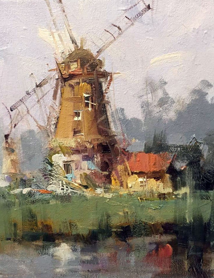 """Windmills Kinderdijk (Plein air in Netherland)"" original fine art by Mostafa Keyhani"