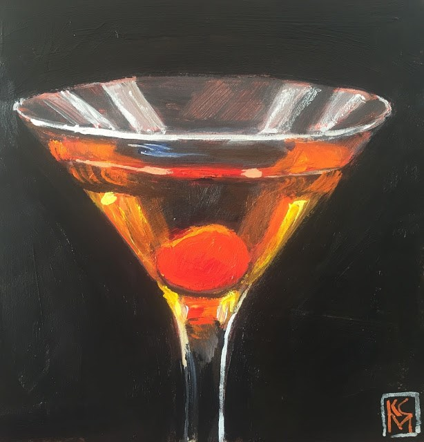 """Make Mine A Manhattan, 6x6 Acrylic Painting by Kelley MacDonald"" original fine art by Kelley MacDonald"
