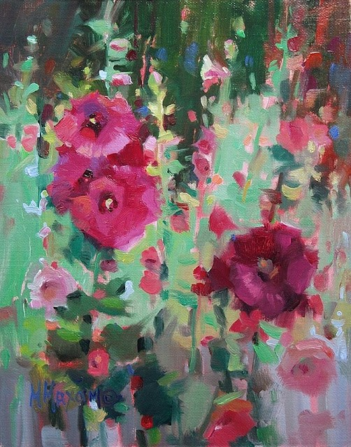 """Twin Bloom Hollyhocks"" original fine art by Mary Maxam"
