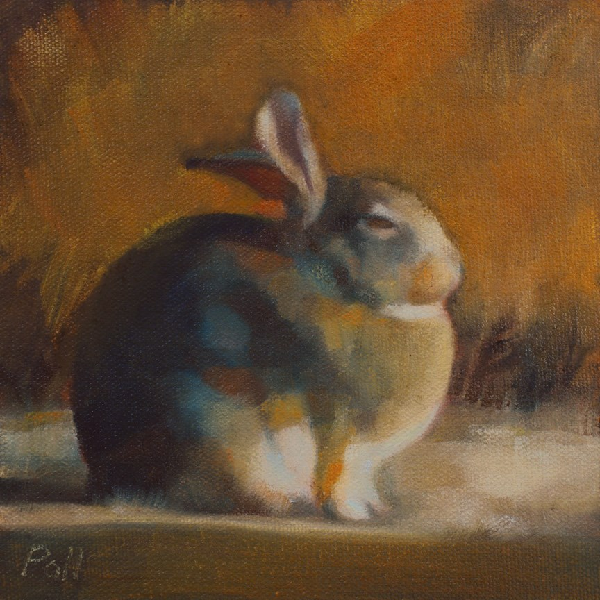 """Sleepy Rabbit"" original fine art by Pamela Poll"