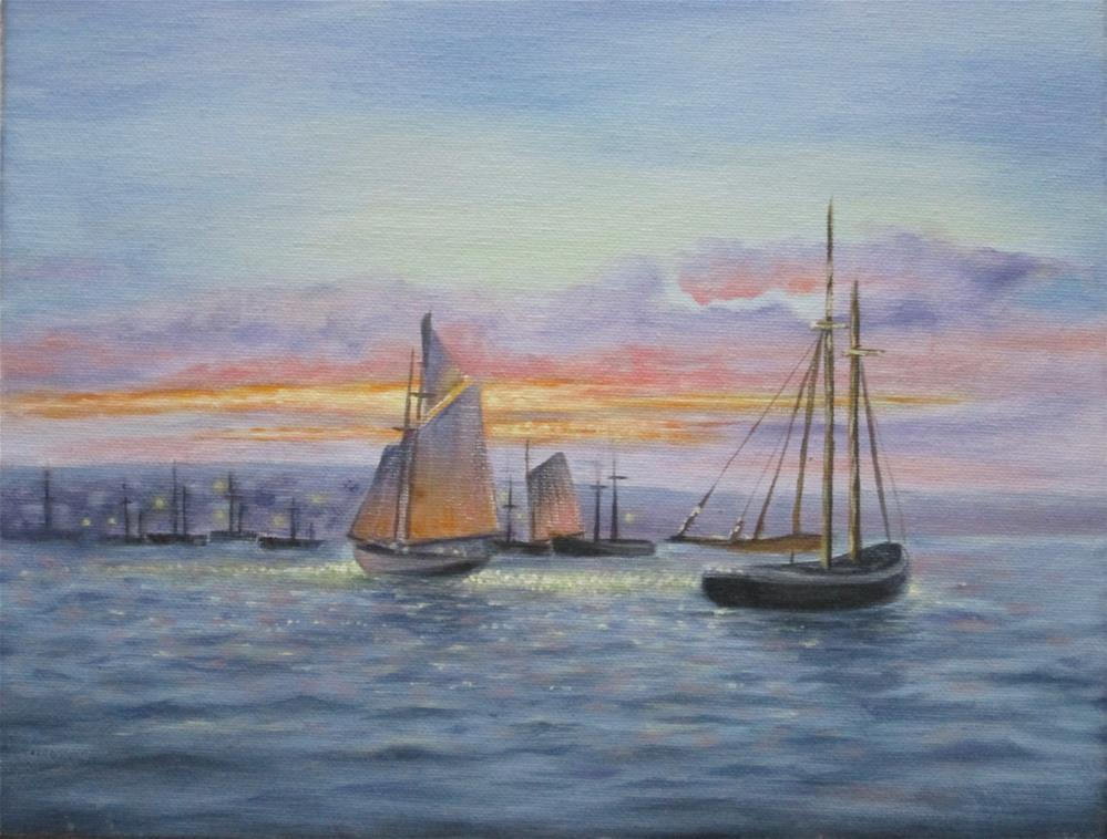 """Sunset Sail"" original fine art by Barbara Wagner"
