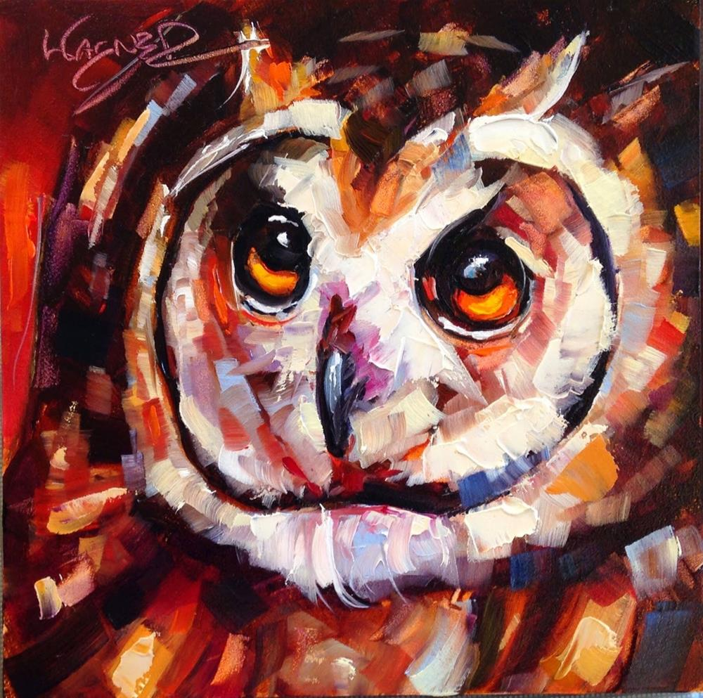 """ORIGINAL CONTEMPORARY SHORT EARED OWL PAINTING by OLGA WAGNER"" original fine art by Olga Wagner"