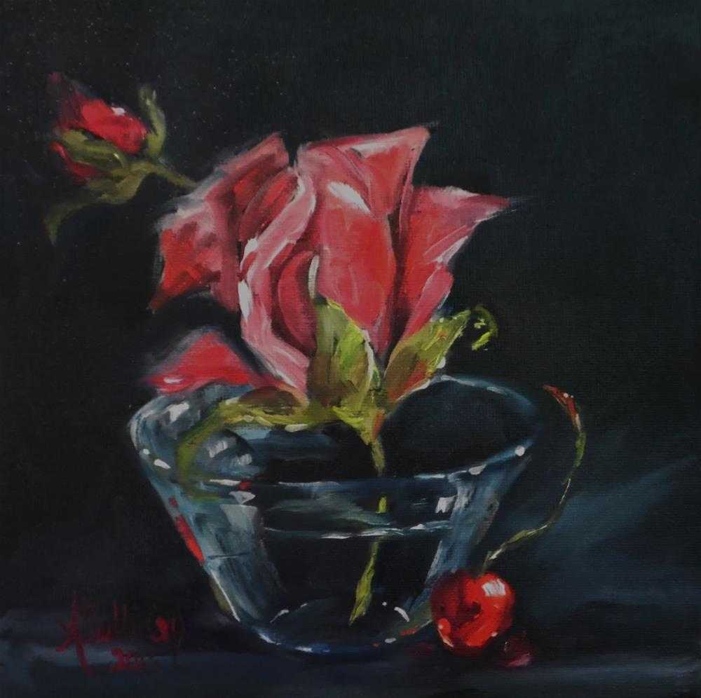 """Sweet Night rose painting by Alabama Artist Angela Sullivan"" original fine art by Angela Sullivan"