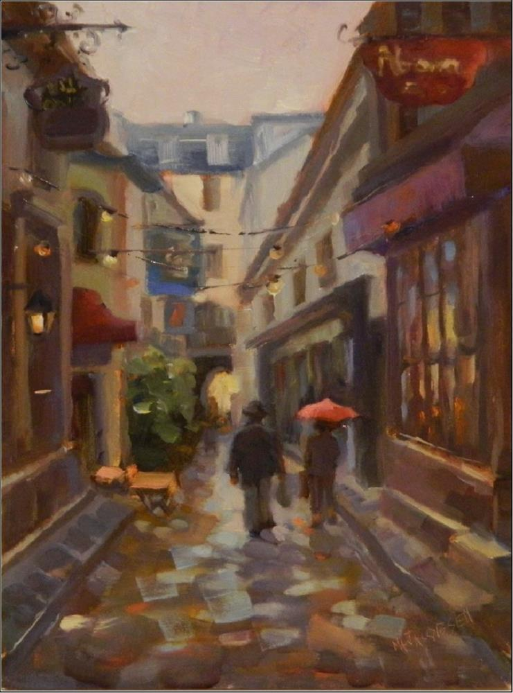 """Red Umbrella, oil on board, Paris, cityscape, small streets, LAtin Quarter, impressionism, alla pr"" original fine art by Maryanne Jacobsen"