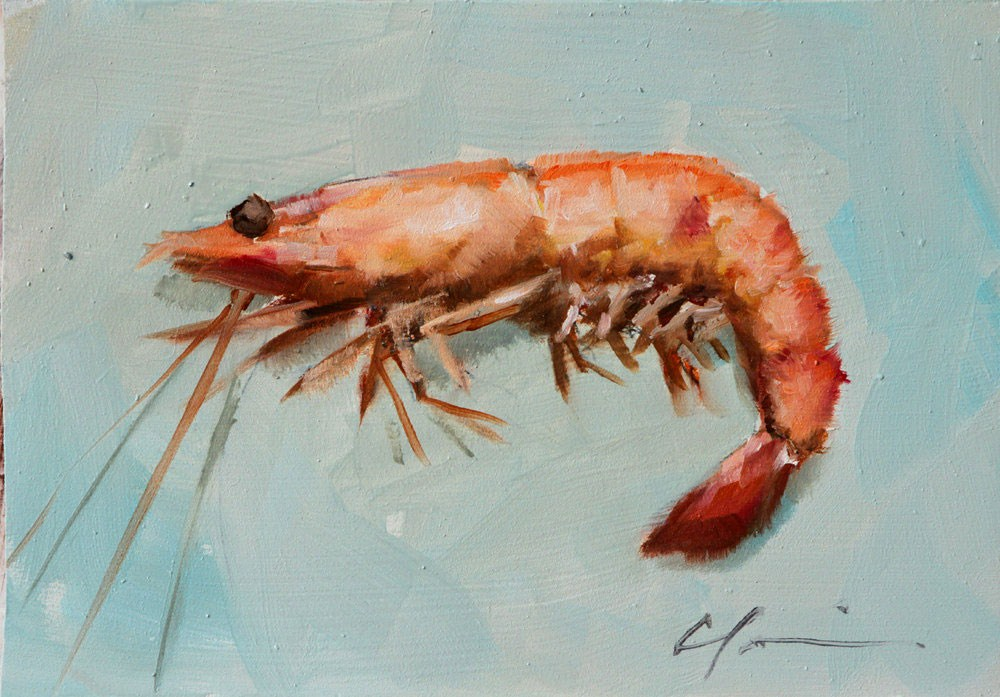 """Thinking About Shrimp"" original fine art by Clair Hartmann"
