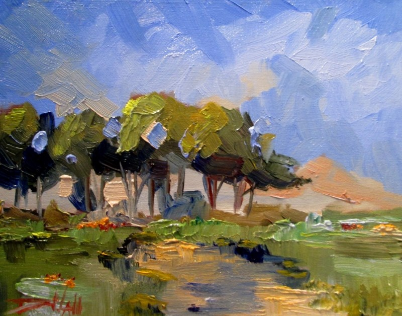 """Landscape with Trees"" original fine art by Delilah Smith"