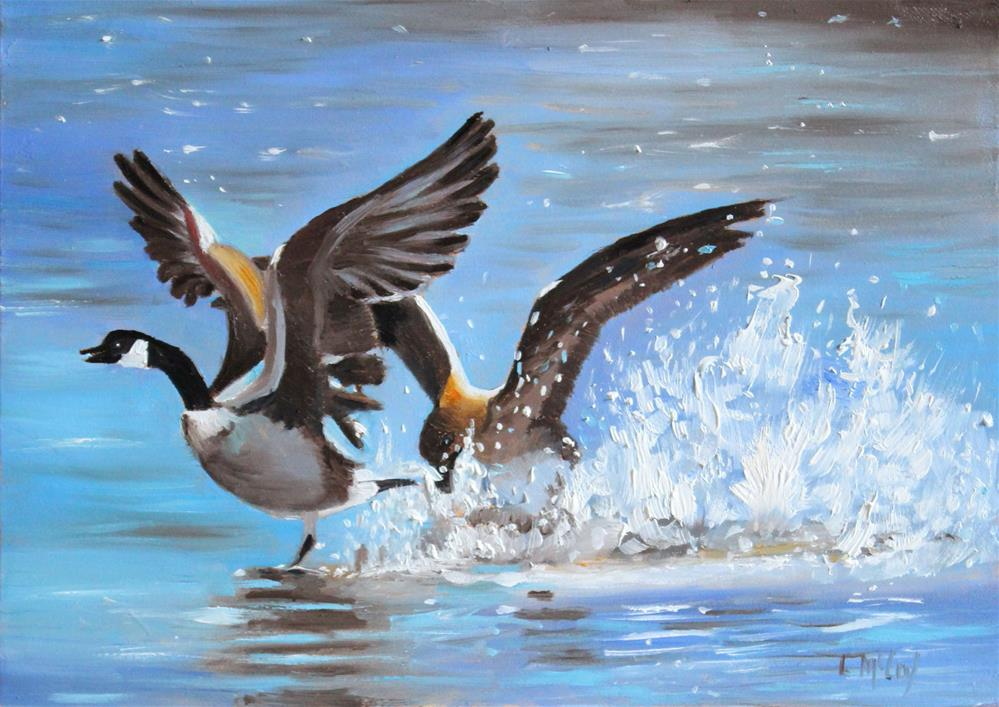 """Splashing Geese, Oil,"" original fine art by Linda McCoy"