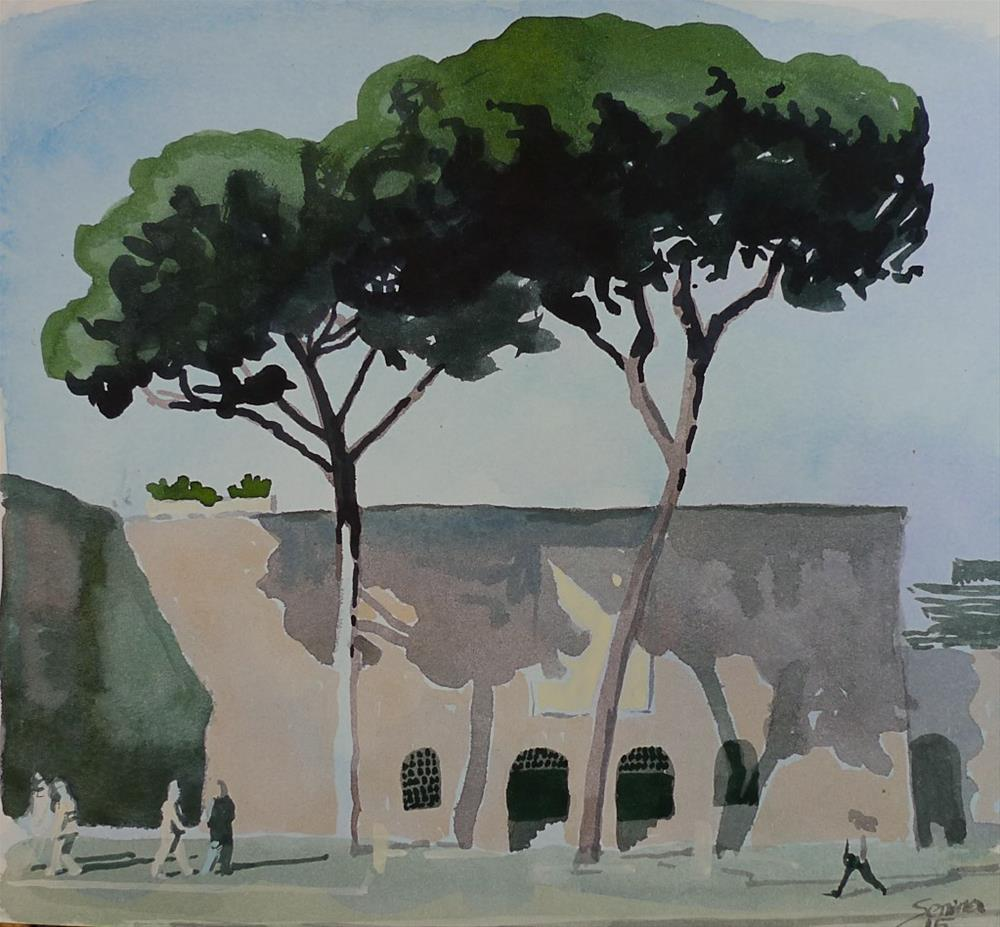 """Rome. Pine trees"" original fine art by Elena Senina"