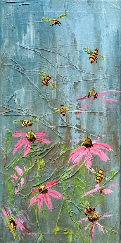 """Fourth in Pollinator Series - Bee # 40"" original fine art by Sue Furrow"