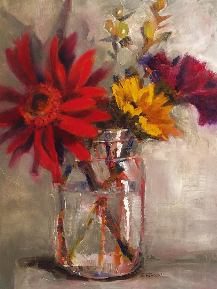 """Grocery Store Flowers"" original fine art by Sharon Egan"