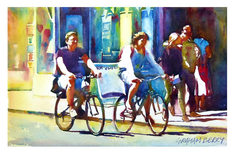 """Oxford cyclists"" original fine art by Graham Berry"