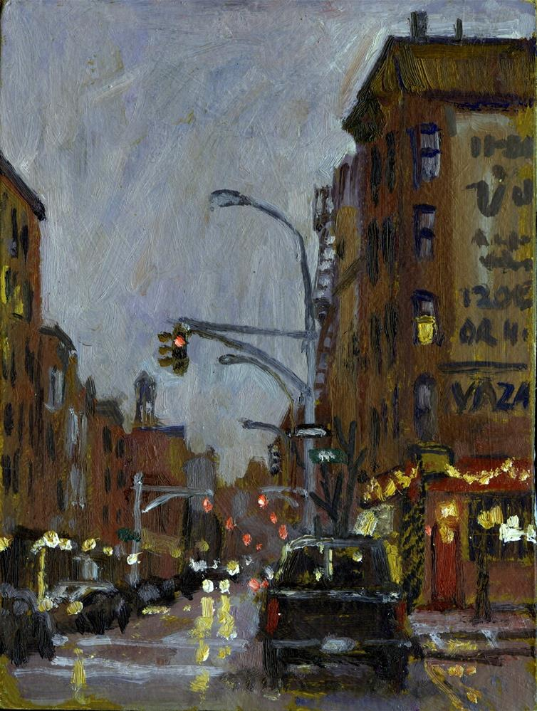 """Twilight on 7th and Avenue B, Vazac Bar NYC"" original fine art by Thor Wickstrom"
