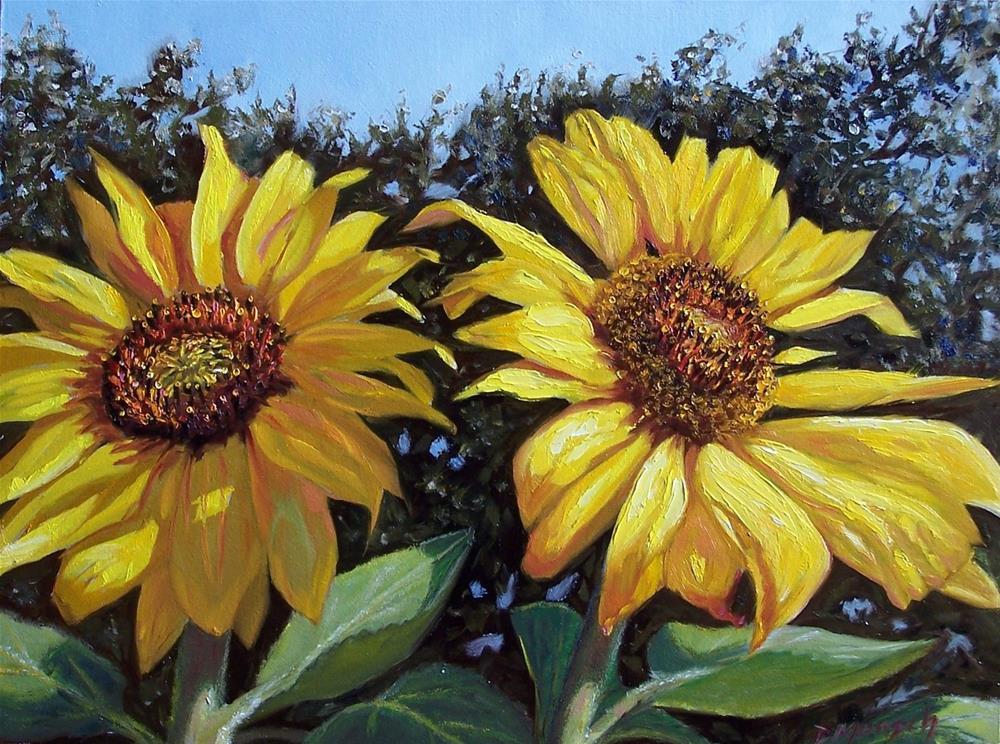 """""""Franklin's Sunflowers"""" original fine art by Donna Munsch"""