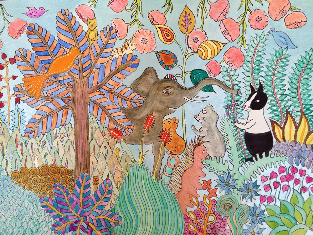"""Jungle Flower"" original fine art by Susan Medyn"