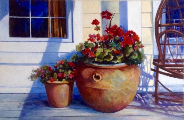 """Deckside Geraniums"" original fine art by Cathy Boyd"