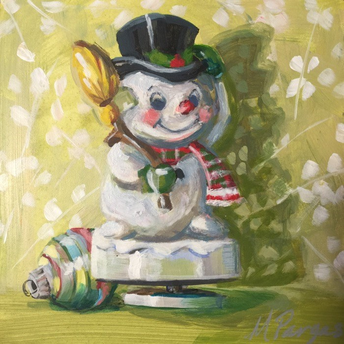 """Frosty Musical Figurine"" original fine art by Mary Pargas"