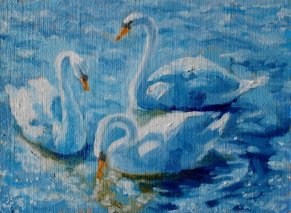 """swans 2"" original fine art by Yuriy Semyonov"