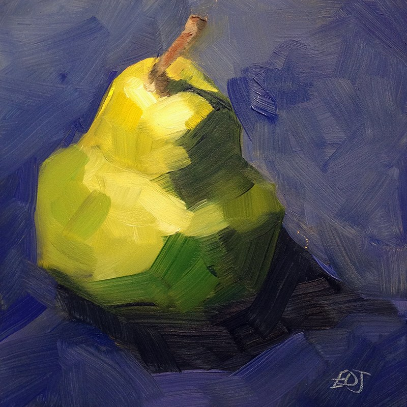 """Single Pear"" original fine art by Elizabeth Dawn Johnston"