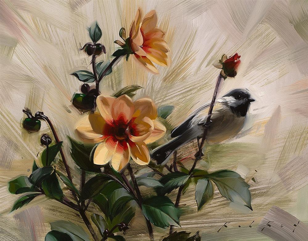 """""""Dahlias"""" original fine art by Rob  Rey"""