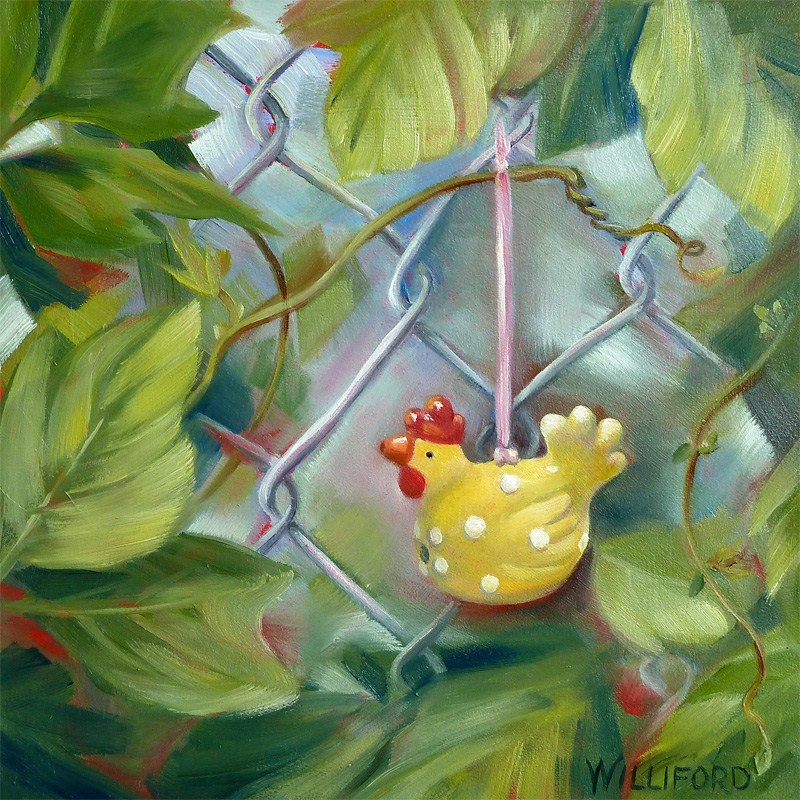 """The Kudzu Adventure  The Traveling Chicken visits GA"" original fine art by Kathleen Williford"