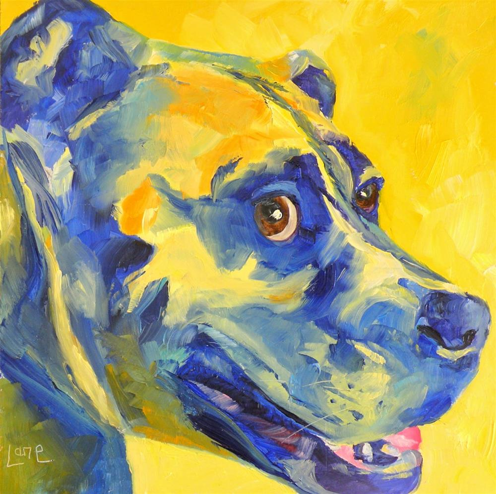 """FLINTSTONE 64/101 OF 101 PET PORTRAITS IN 101 DAYS © SAUNDRA LANE GALLOWAY"" original fine art by Saundra Lane Galloway"