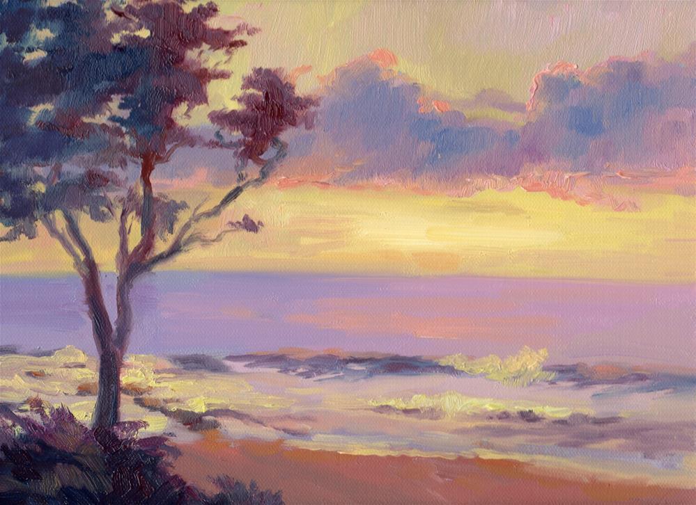 """SUNSET AND ACACIA"" original fine art by Karen E Lewis"