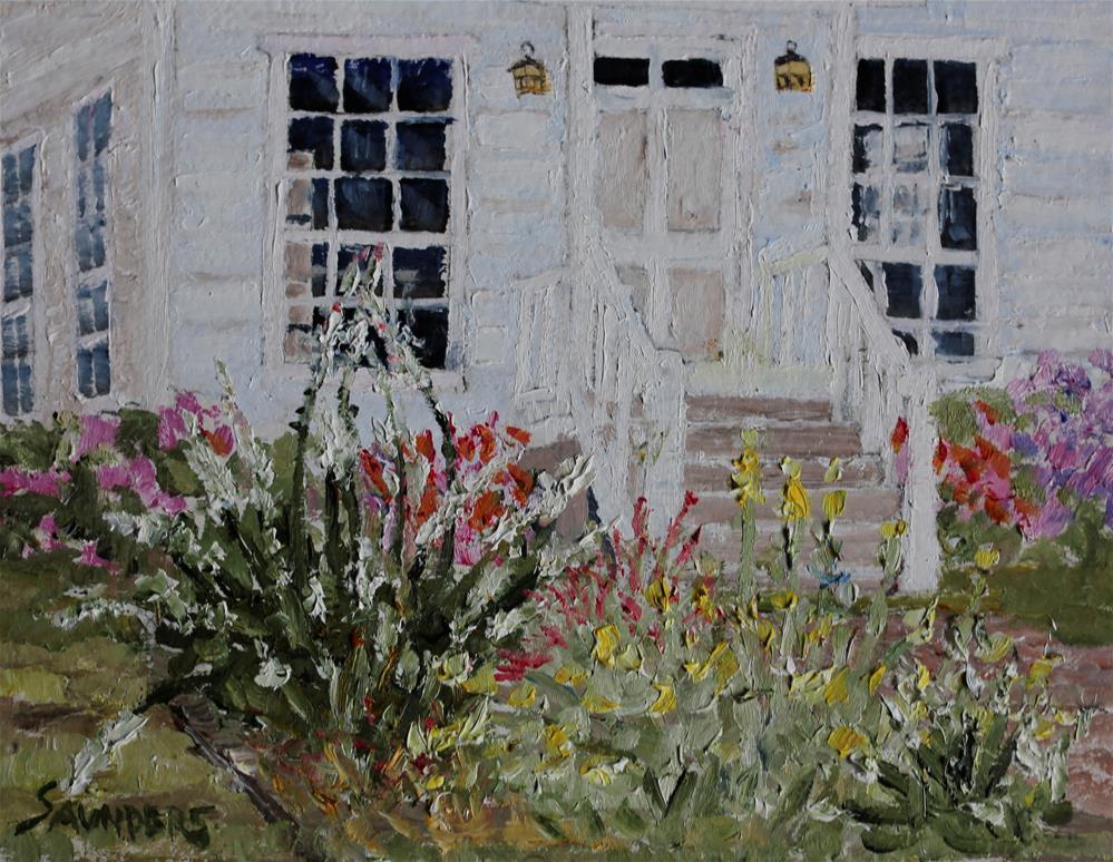 """Back yard flower garden"" original fine art by Michael Saunders"