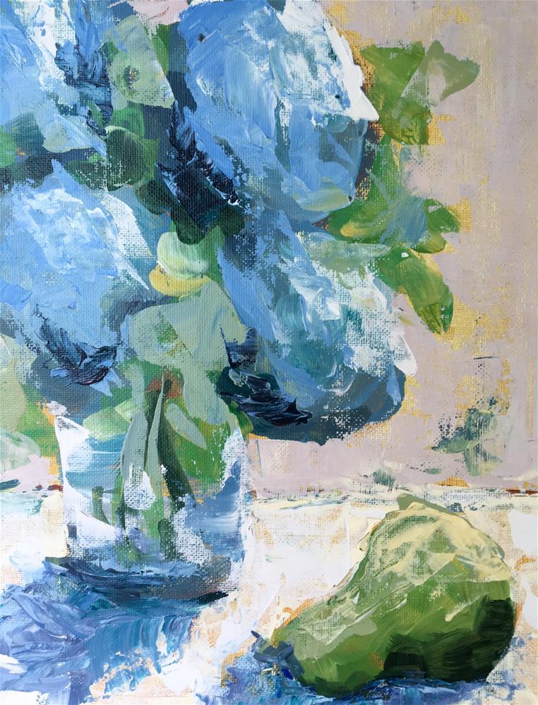 """HydHydrangea and Pear, Demo 2"" original fine art by Susan Elizabeth Jones"
