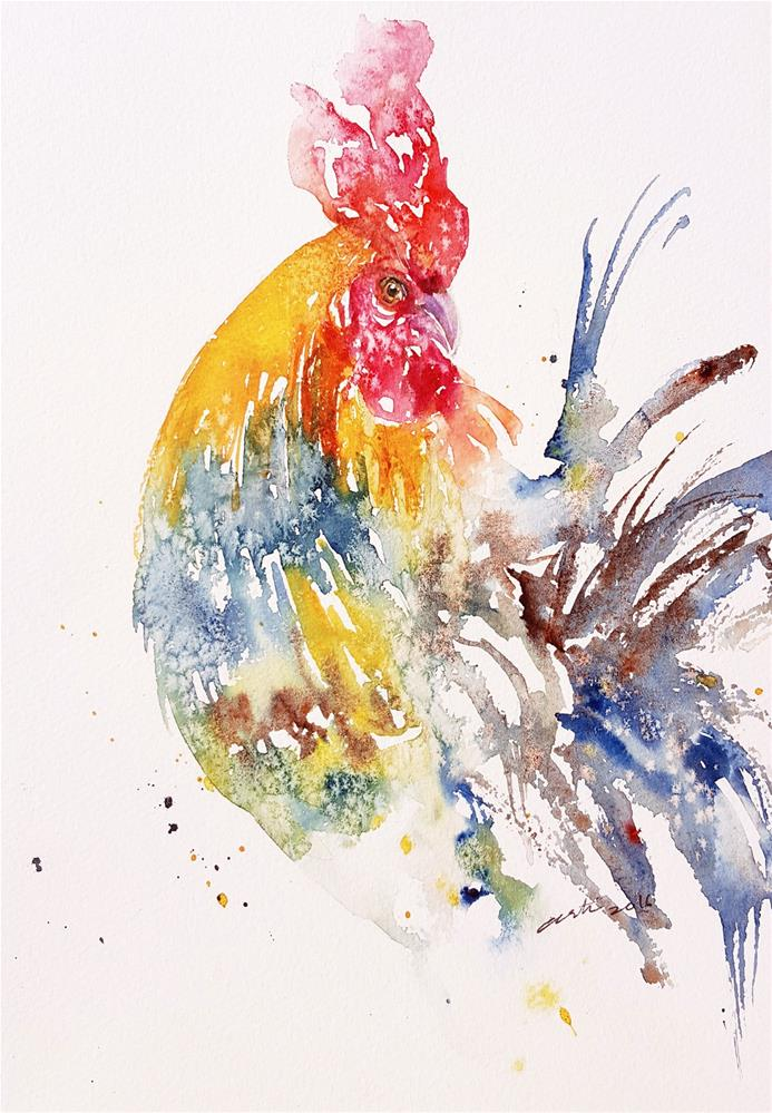 """Rainbow Rooster II"" original fine art by Arti Chauhan"