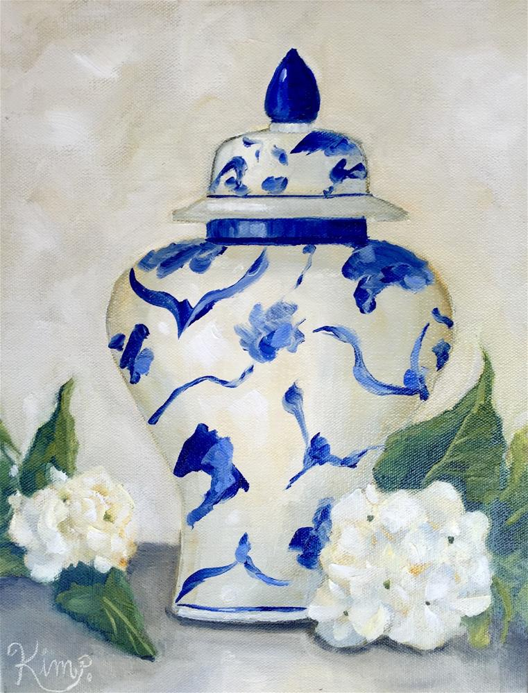 """Ginger Jar with Hydrangeas"" original fine art by Kim Peterson"