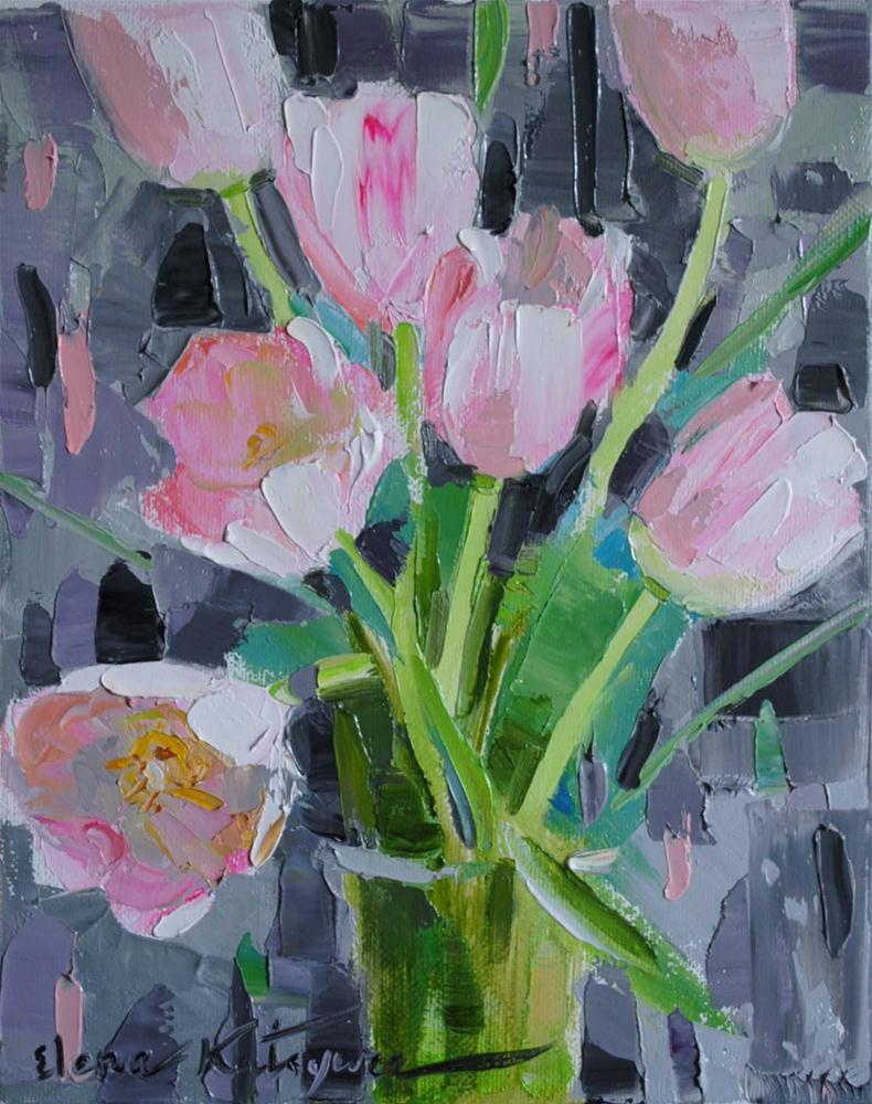 """Holiday Tulips"" original fine art by Elena Katsyura"