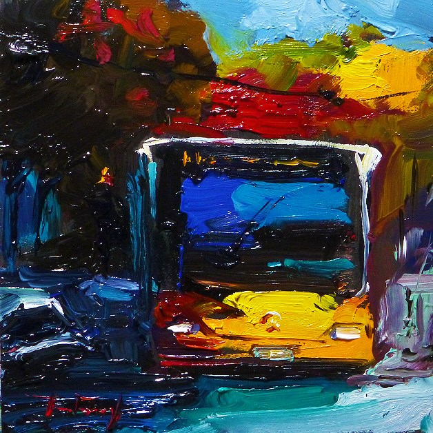 """autumn Bus"" original fine art by Jurij Frey"