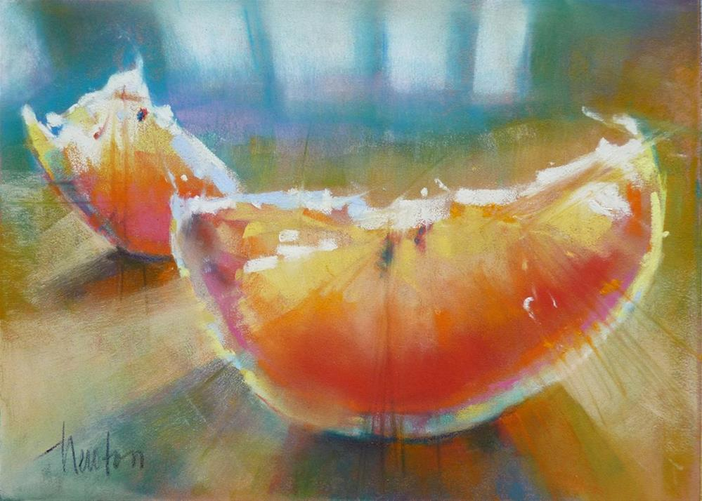 """Pink Grapefruit #2"" original fine art by Barbara Benedetti Newton"
