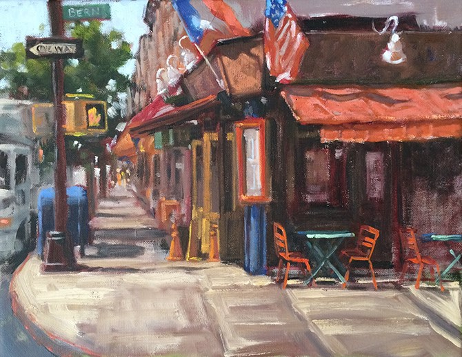 """Corner Cafe"" original fine art by Deborah Newman"