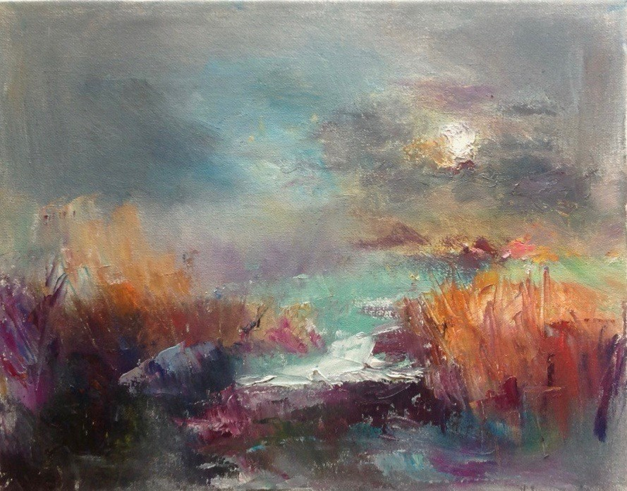 """Moonlight on the Marsh"" original fine art by Judy Usavage"