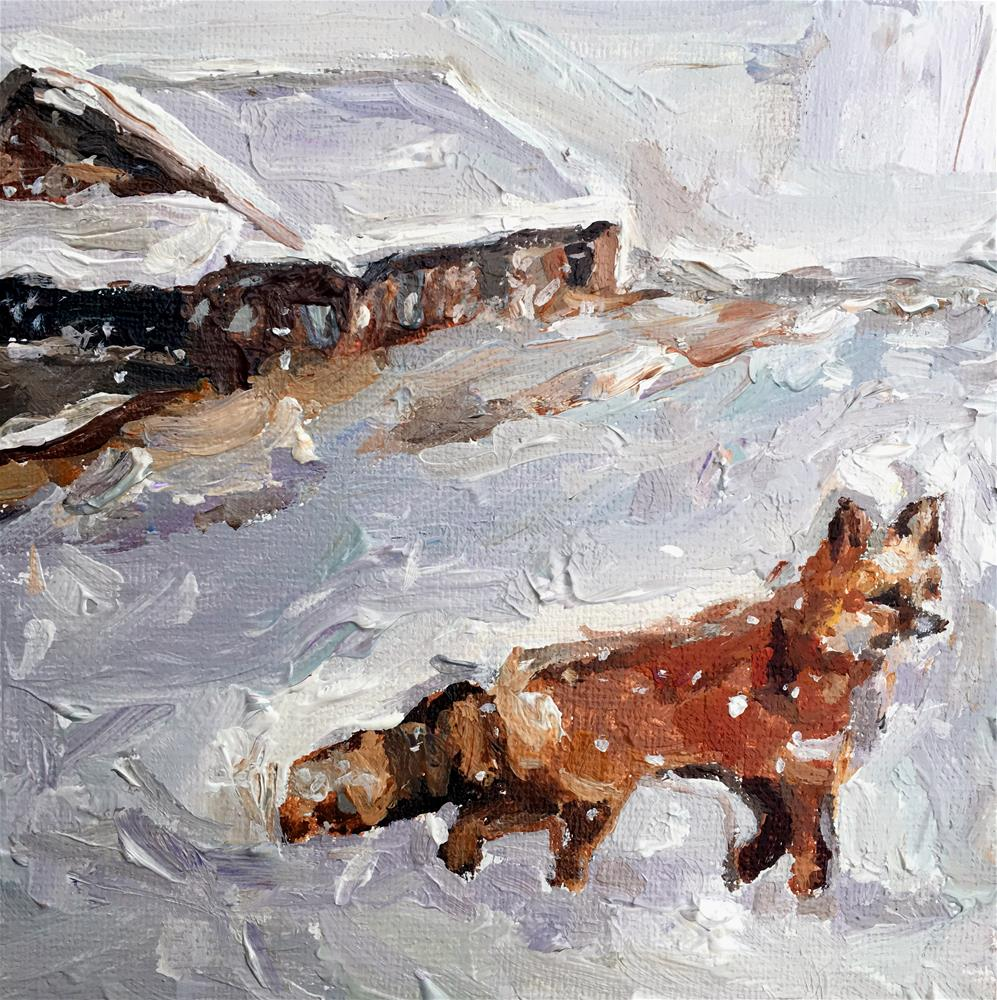 """Red Fox in Snowstorm"" original fine art by Nava Judith"