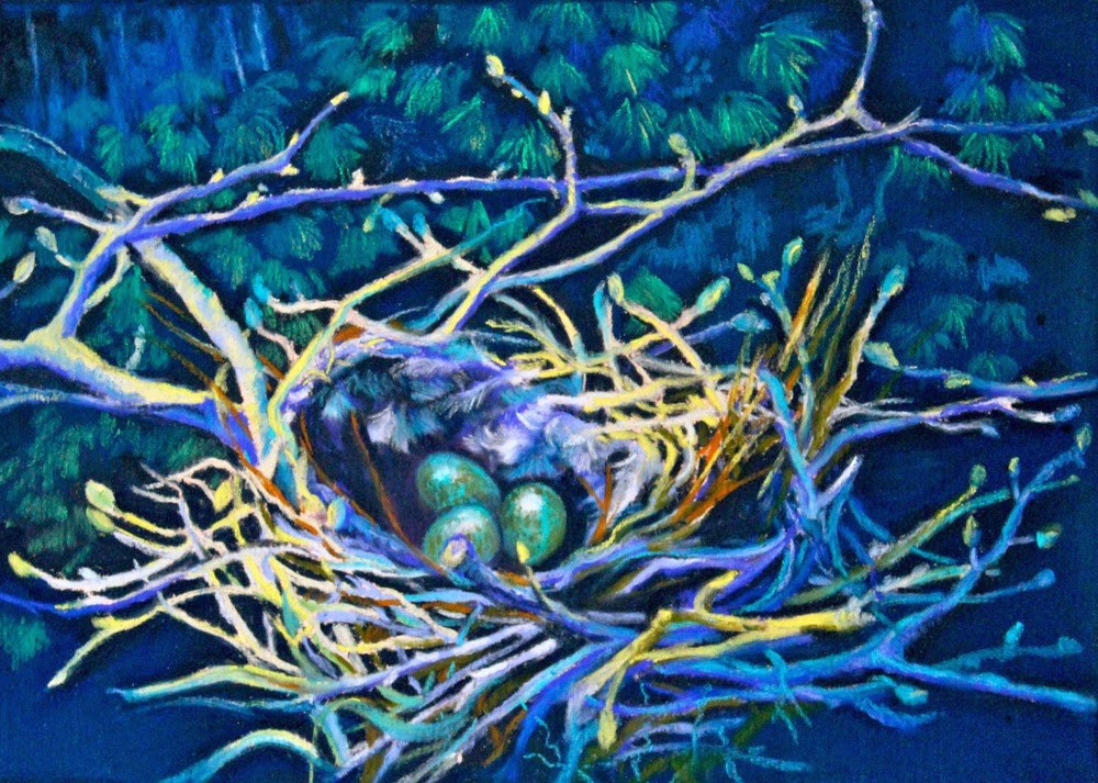 """Crow's Nest in Emerald"" original fine art by Jill Bates"