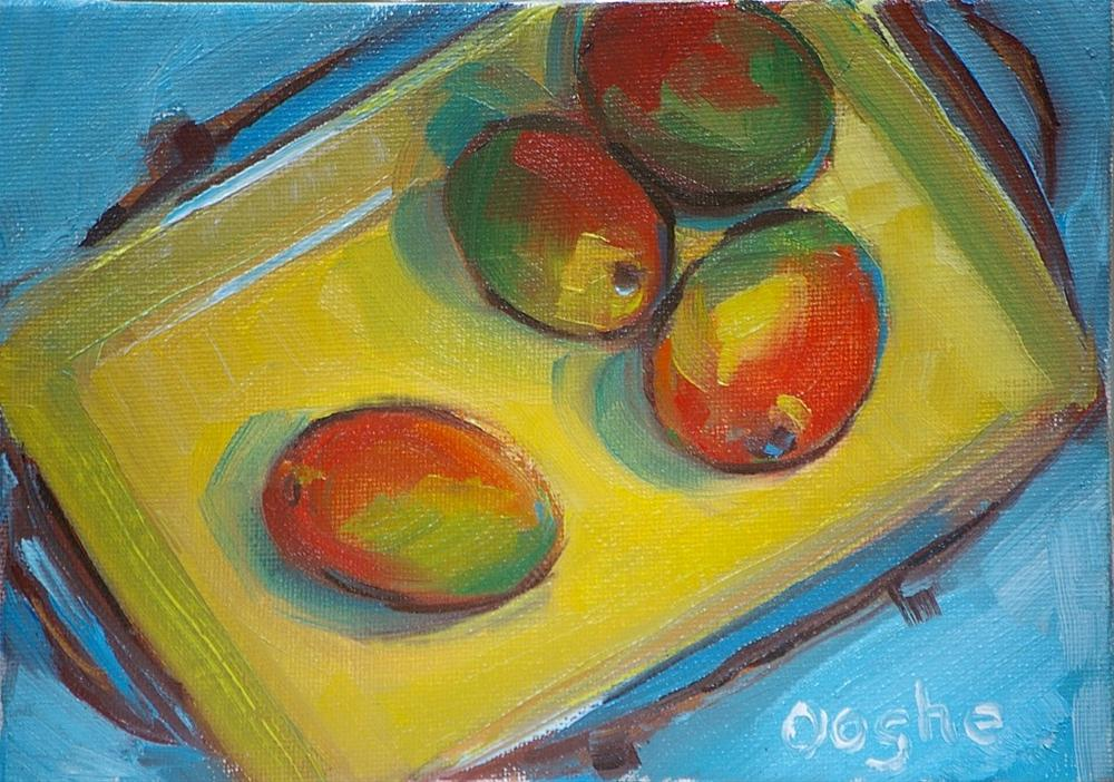 """Mangoes on a Yellow Platter"" original fine art by Angela Ooghe"