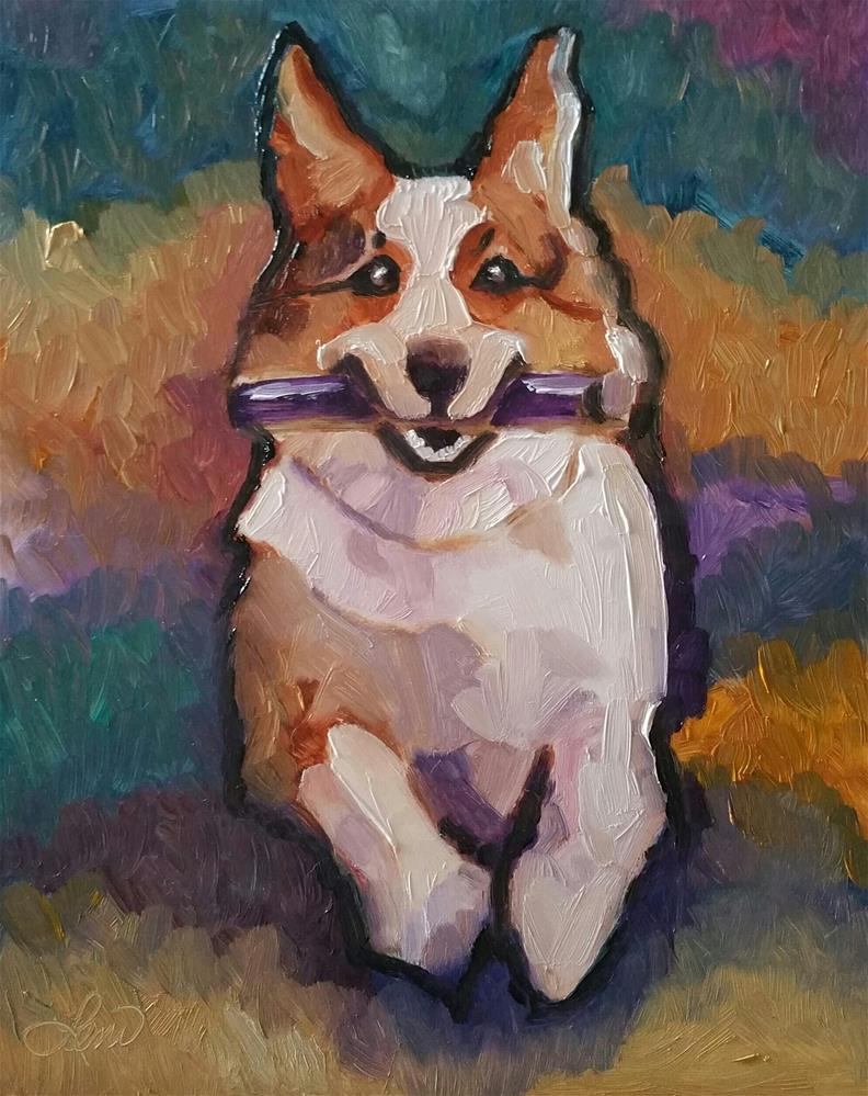 """Super Corgi"" original fine art by Leni Tarleton"
