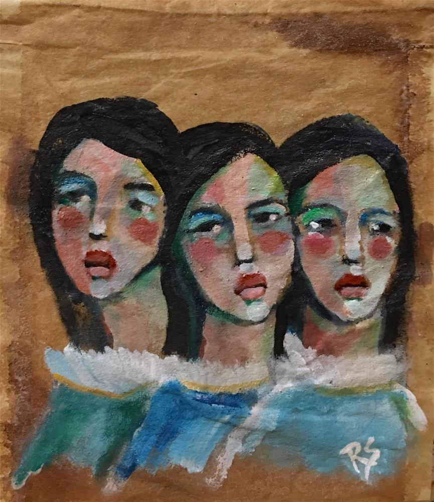 """Tea Bag Portrait - Three Sisters"" original fine art by Roberta Schmidt"