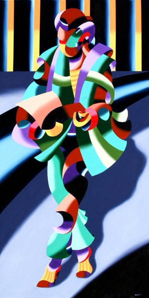 """""""Mark Webster - Modern Woman in Tokyo - Abstract Geometric Oil Painting"""" original fine art by Mark Webster"""