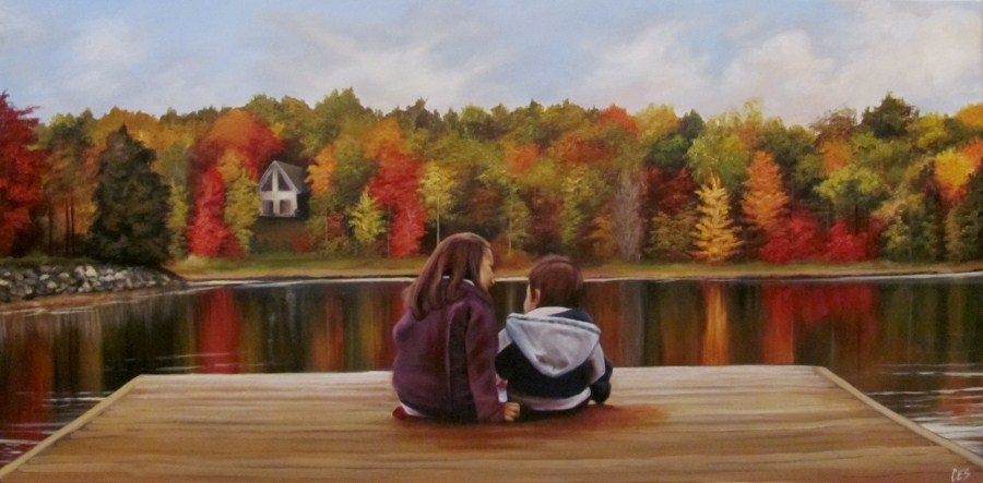 """Commissioned Painting - Autumn Glory: Isabella and Matthew at the Bay"" original fine art by ~ces~ Christine E. S. Code"