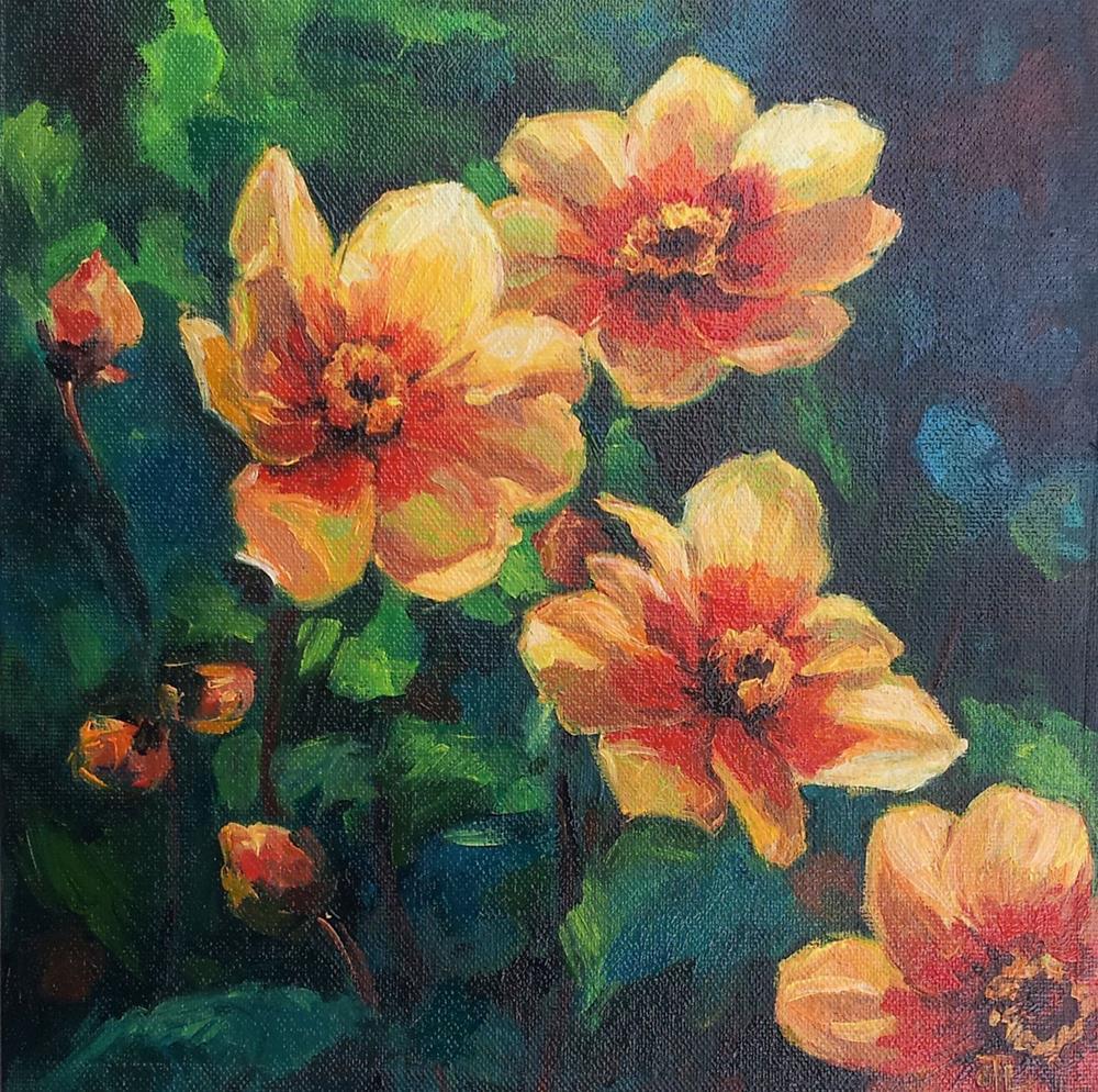 """DCS#33 - Dahlias"" original fine art by Olga Touboltseva-Lefort"