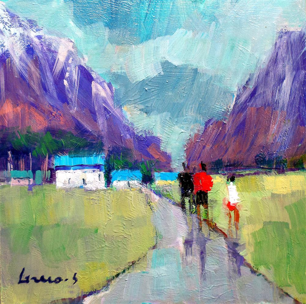 """After the rain the blue roofs"" original fine art by salvatore greco"