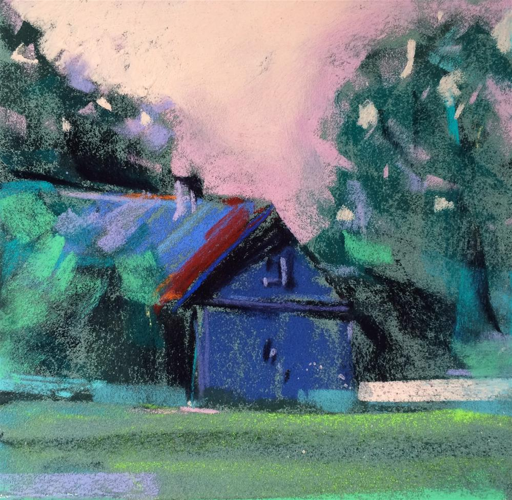 """Blue Barn"" original fine art by Cristine Kossow"
