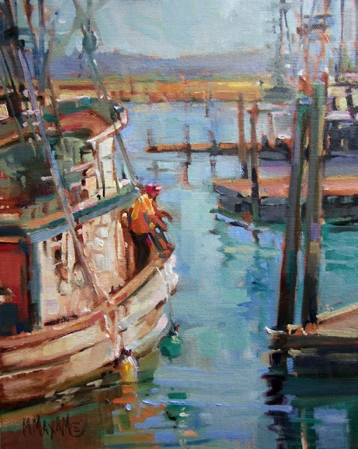 """Westport Docks, End of Day"" original fine art by Mary Maxam"