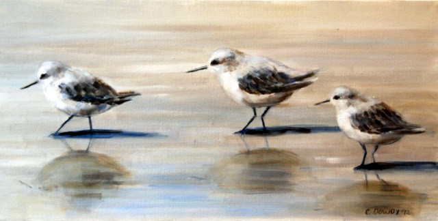 """Three Sandpipers"" original fine art by Christina Dowdy"