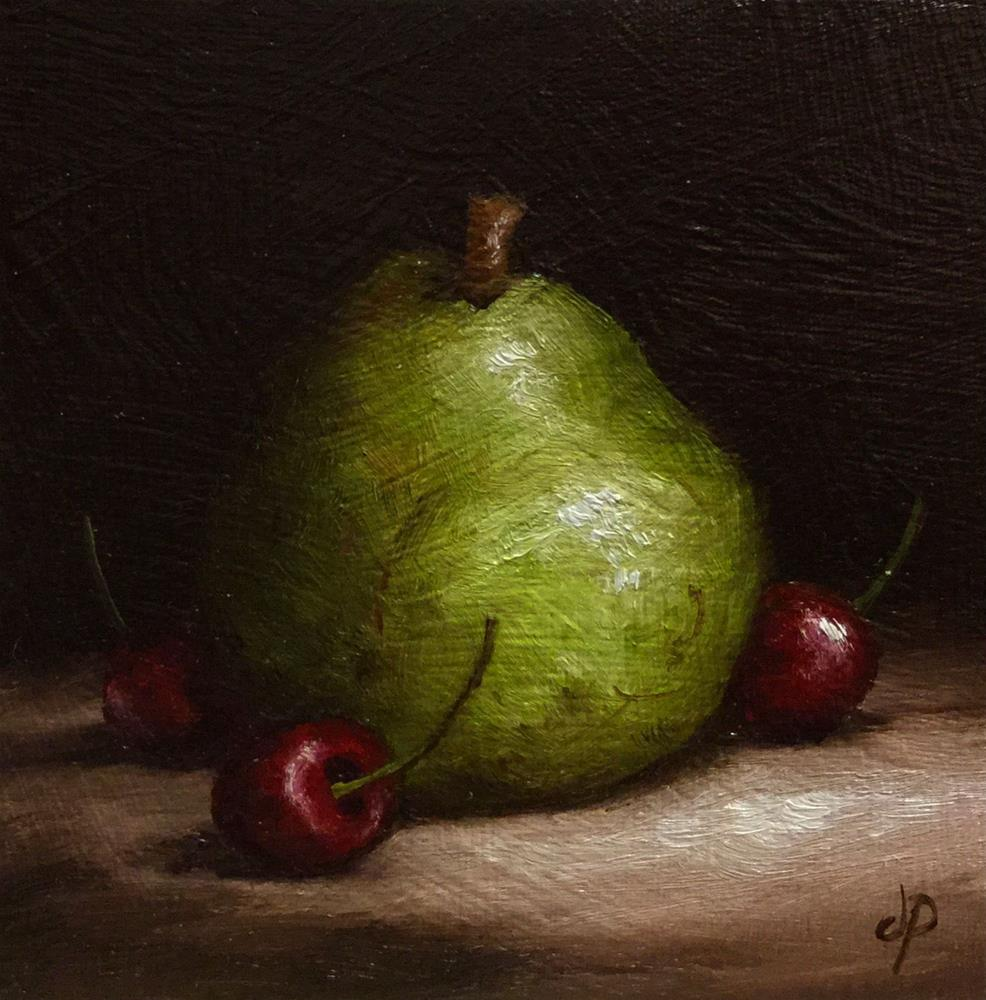"""Comice Pear with Cherries"" original fine art by Jane Palmer"