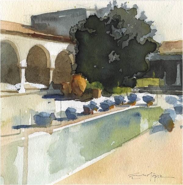 """patio 108"" original fine art by Emilio López"